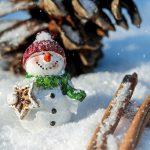 Inverno con un pupazzo di neve e delle stecche di cannella